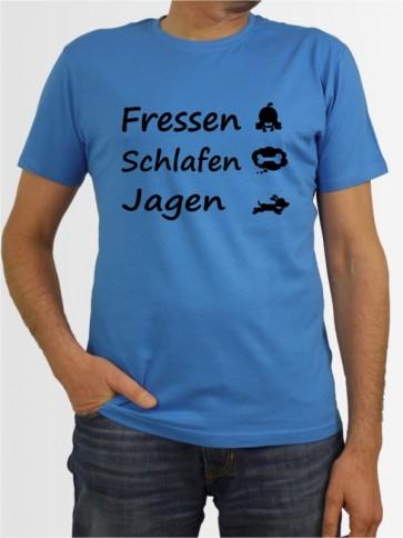 """""""Fressen Schlafen Jagen"""" Herren T-Shirt"""