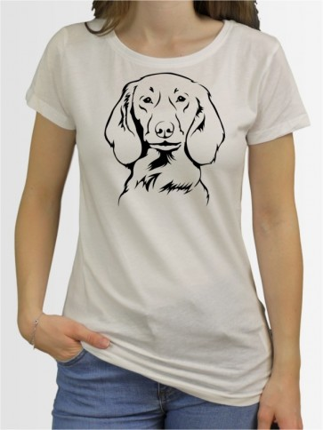 """""""Langhaardackel"""" Damen T-Shirt"""