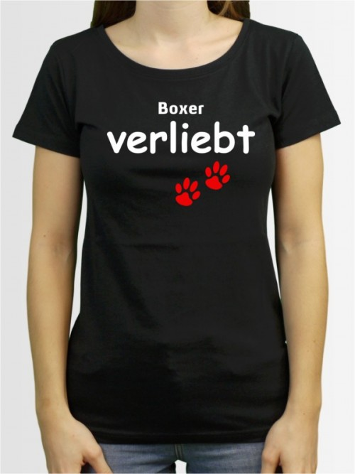 """""""Boxer verliebt"""" Damen T-Shirt"""