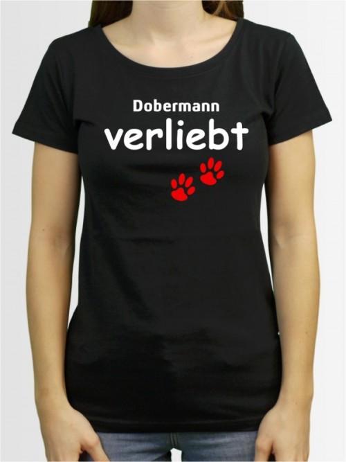 """""""Dobermann verliebt"""" Damen T-Shirt"""
